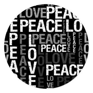 Doce dezesseis da tipografia da paz do amor convite quadrado 13.35 x 13.35cm