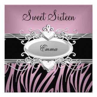 Doce dezesseis da zebra preto cor-de-rosa de prata convites