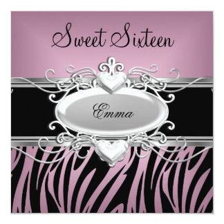 Doce dezesseis da zebra preto cor-de-rosa de prata convite quadrado 13.35 x 13.35cm