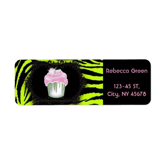 Doce dezesseis do cupcake do rosa do impressão da etiqueta endereço de retorno