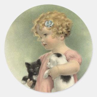 Doce do filhote de cachorro do gatinho da menina adesivo redondo