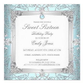 Cartão Doce elegante 16 da cerceta convite de dezesseis