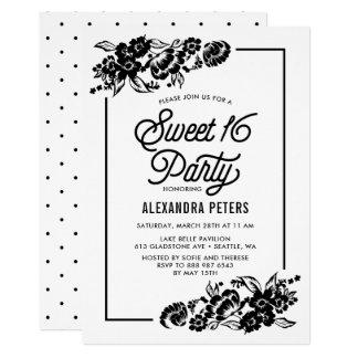 Doce floral moderno preto & branco dezesseis dos convite 12.7 x 17.78cm