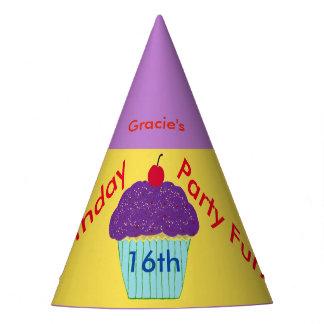 Doce personalizado cupcake do roxo do chapéu de 16
