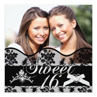 Doce preto dezesseis da foto dos gêmeos do doce 16 convite quadrado 13.35 x 13.35cm