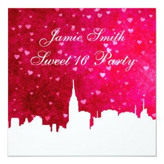 Doce rosa vermelha 16 do coração do GH da silhueta Convite Quadrado 13.35 X 13.35cm