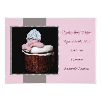 Doce & simples - rosa convite 12.7 x 17.78cm