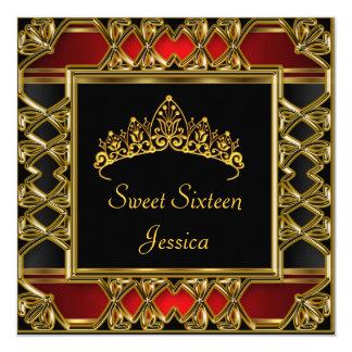 Doce tiara vermelha preta do ouro de 16 convite quadrado 13.35 x 13.35cm