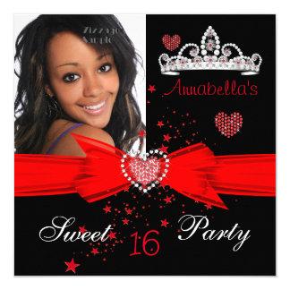 Doce vermelho foto da tiara do diamante de 16 convite quadrado 13.35 x 13.35cm