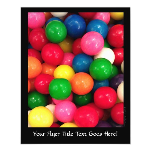 Doces coloridos da bola de goma panfletos personalizados