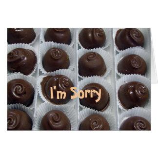 Doces de chocolate eu sou pesaroso cartão