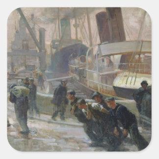 Dockers de Liverpool em Alvorecer, 1903 Adesivo Quadrado
