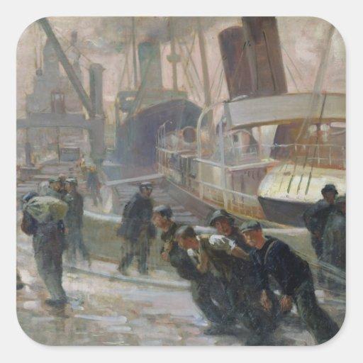 Dockers de Liverpool em Alvorecer, 1903 Adesivos Quadrados