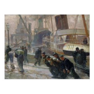 Dockers de Liverpool em Alvorecer, 1903 Cartao Postal