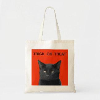DOÇURA OU TRAVESSURA - gato preto Sacola Tote Budget