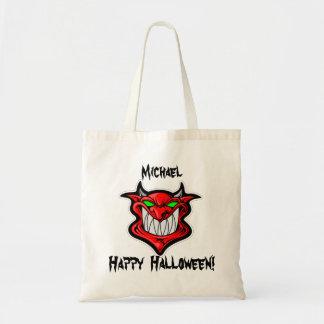 Doçura ou travessura personalizada do diabo bolsa tote