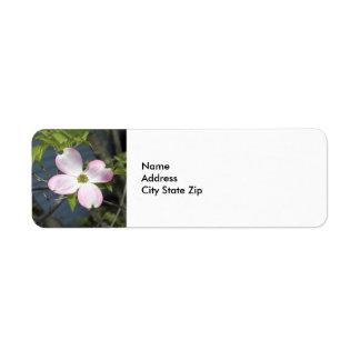 Dogwood cor-de-rosa 1483 etiqueta endereço de retorno