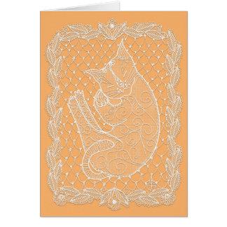 Doily do laço do gato do sono (girassol, vazio) cartão