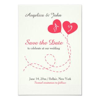 Dois balões dos corações salvar o anúncio da data