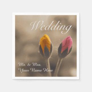 Dois botões cor-de-rosa que Wedding o guardanapo
