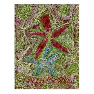 Dois cartão do feliz aniversario das flores