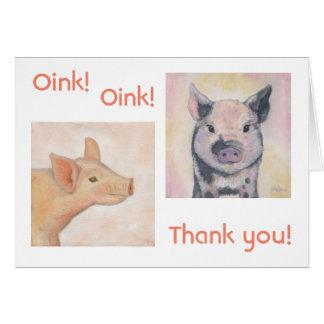 Dois cartões de agradecimentos dos leitão