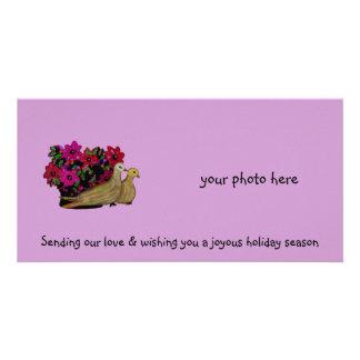 Dois cartões de fotos das pombas da tartaruga cartoes com fotos personalizados