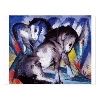 Dois cavalos por Franz Marc Cartão Postal