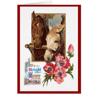 Dois cavalos - um cartão de Natal brilhante e