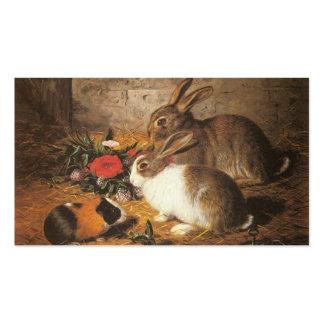 Dois coelhos e uma cobaia cartao de visita