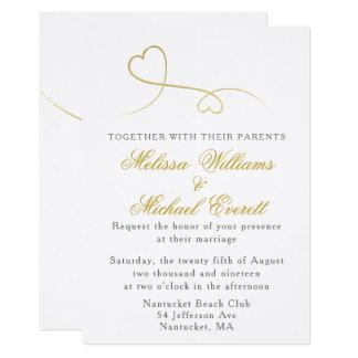 Dois convite mínimo do casamento dos corações | do