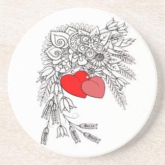 Dois corações 2 porta-copos de arenito