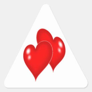 Dois corações adesivo triangular