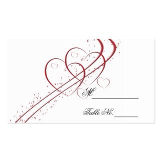 Dois corações como um cartão do lugar cartão de visita