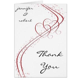 Dois corações como um cartões de agradecimentos