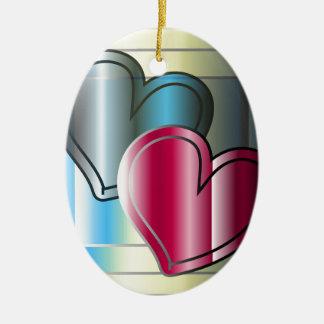 dois corações junto e brilhante colorido ornamento de cerâmica oval