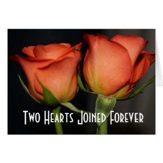 Dois corações que Wedding o cartão dos rosas
