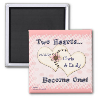 Dois corações que Wedding parabéns, Chris      … Ímã Quadrado