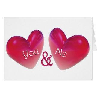 Dois corações românticos cartão comemorativo