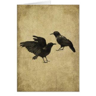 Dois corvos Prim o cartão de nota de Lil