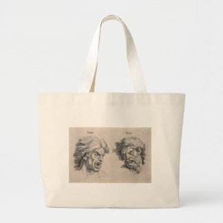 Dois desenhos das caras irritadas bolsa tote grande