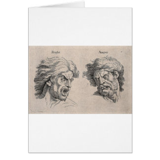 Dois desenhos das caras irritadas cartão