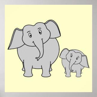 Dois elefantes Adulto bonito e desenhos animados Pôsteres