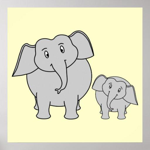 Dois elefantes. Adulto bonito e desenhos animados  Pôsteres