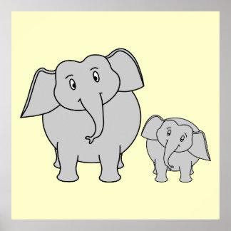 Dois elefantes. Adulto bonito e desenhos animados  Poster