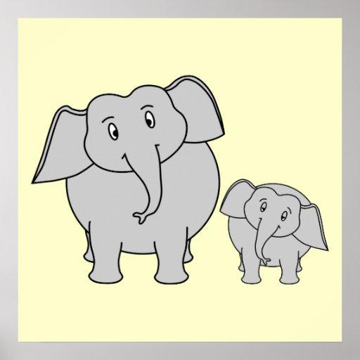 Dois elefantes. Adulto bonito e desenhos animados  Posters