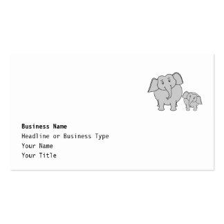 Dois elefantes bonitos. Desenhos animados Cartão De Visita