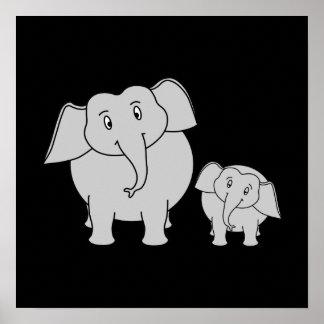 Dois elefantes bonitos. Desenhos animados no preto Poster