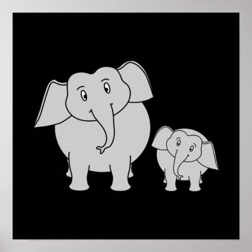 Dois elefantes bonitos. Desenhos animados no preto Impressão