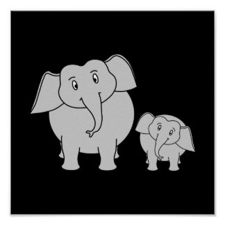 Dois elefantes bonitos Desenhos animados no preto Pôsteres